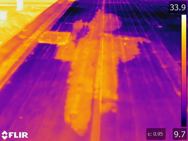 Infraded Diagnostic takes infrared scan of roof moisture