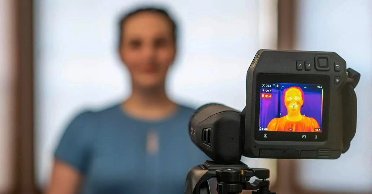 Image of Thermal Body Temperature Scanning by Infrared Diagnostic from safe and comfortable distance