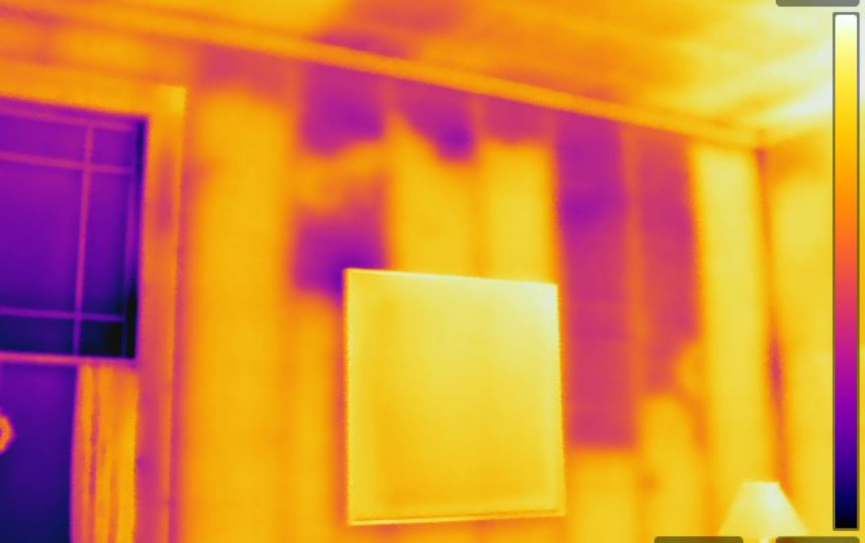 Infrared Diagnostics,  Infrared image of settled insulation, missing insulation  , MA