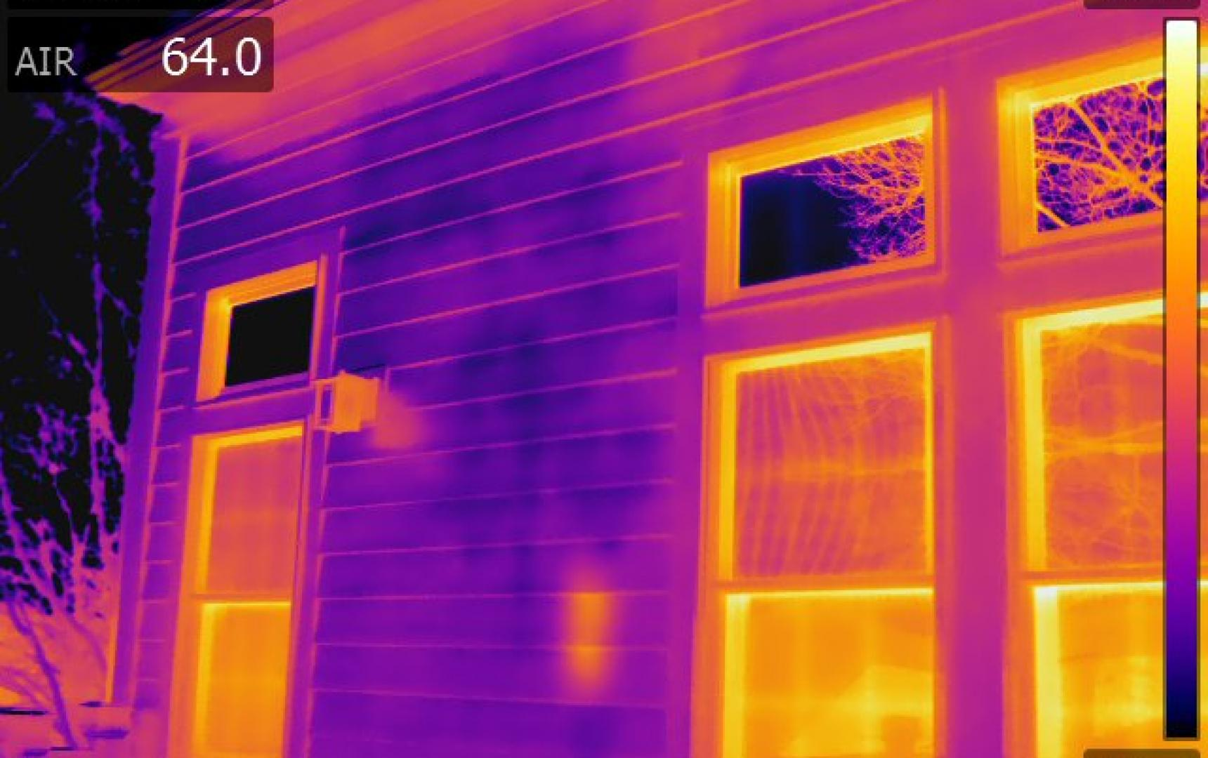 Infrared Diagnostics, Thermal image of exteriormoistureonsiding, MA