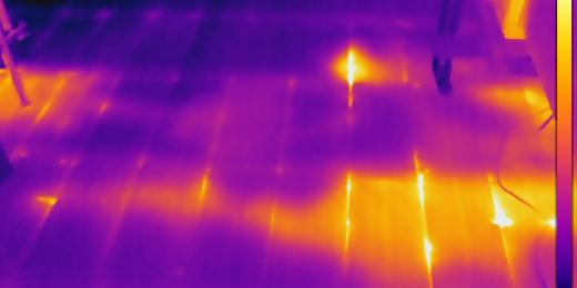 Infrared Diagnostics, Poorly installed insulation in attic floor, MA