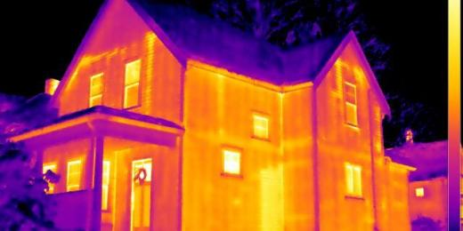 Infrared Diagnostics, Thermal image of house exterior, MA