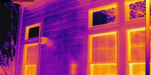 Infrared Diagnostics,  Thermal image of exterior moisture on siding , MA